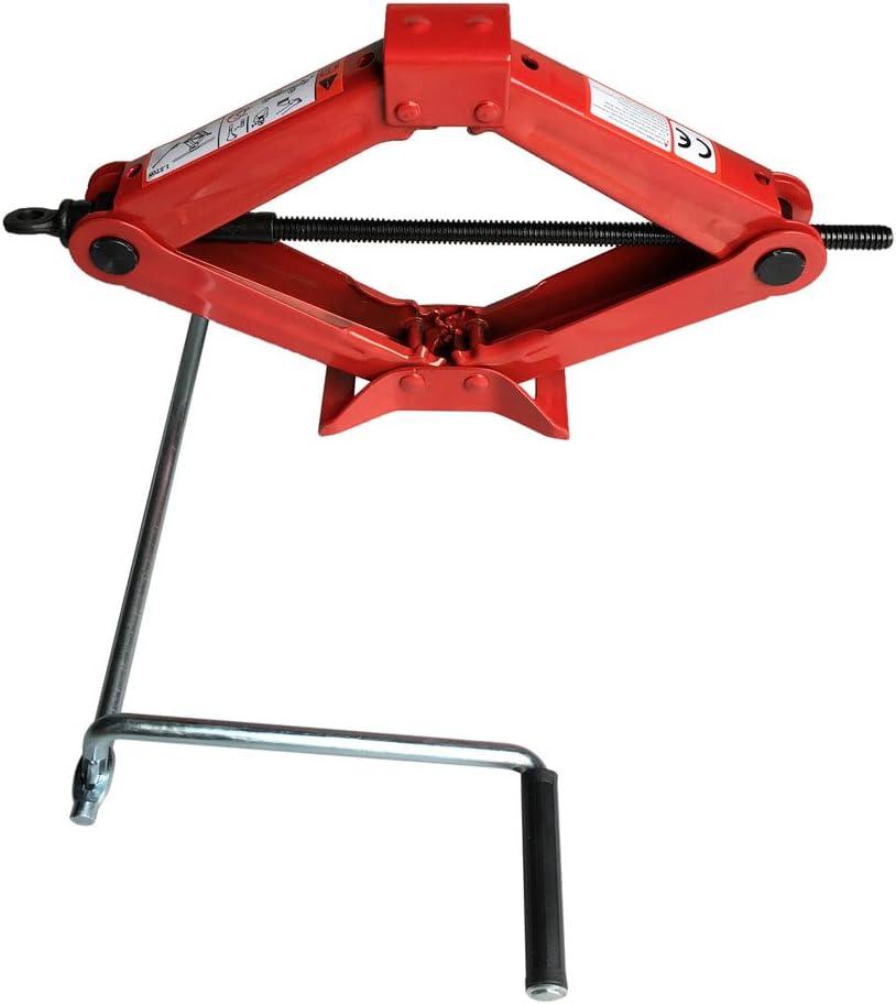 1.5 Ton Scissor Lift Jack for Car SUV MPV RV Trailer Stabilizer Leveling Tire Jack Ratchet Handle Saving Strength Design Red