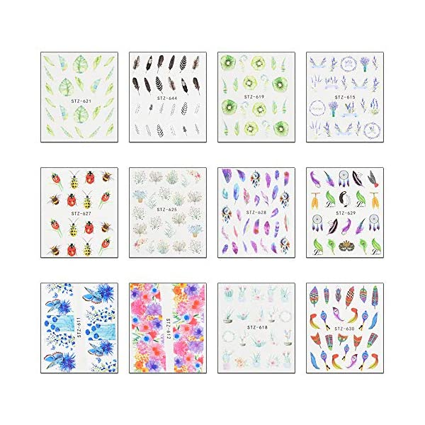 WOKOTO 40 Sheets Water Transfer Nail Art Decals With 1Pcs Tweezers Unicorn Flower Feather Nail Wraps Sticker Manicure Kits For Women 9