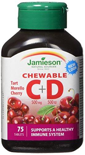 Jamieson Chewable Vitamin C 500 mg + D 500 IU - Morello Cherry