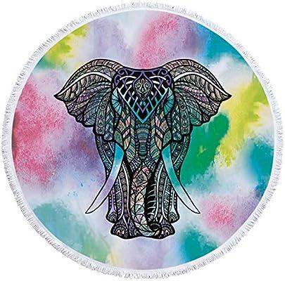 Jiuyizhe - Toalla de Playa Redonda, diseño de Elefante, de Microfibra, con Flecos, para Yoga, Tapiz, Suave, Absorbente, se Aplica al Deporte al Aire Libre, ...