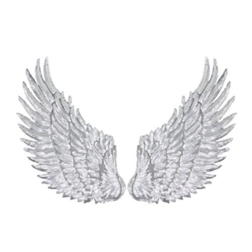 Botrong 1 Pair of Sequins Patches DIY Patch Wings Sew On Embroidery Patch for Clothes Decoration (Silver) (One Sequin)