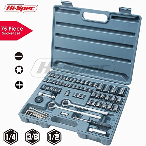 Plug Wrench Set (Hi-Spec 75 Piece SAE & Metric Socket Set including 1/2