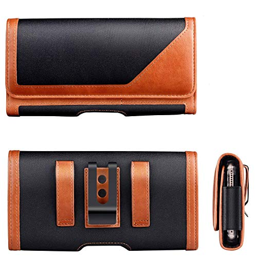 Horizontal Nylon Cell Phone Holster Pouch Belt Clip Case with Belt Loop Card Slots for iPhone 11 Pro Max, Samsung Galaxy…
