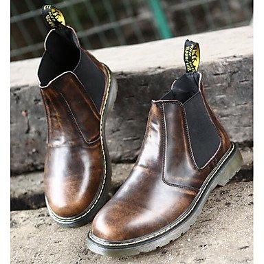 RTRY Zapatos De Mujer Cuero Nappa Moda Otoño Invierno Botas Botas Chunky Talón Botines/Botines De Casual Negro Marrón Rojo US9.5-10 / EU41 / UK7.5-8 / CN42