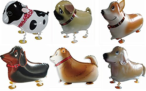 Actopus 6pcs Pet Dog Balloons Walking Animal Balloon Air Walkers Kids Birthday Party Decor 6 Different kinds of Dogs