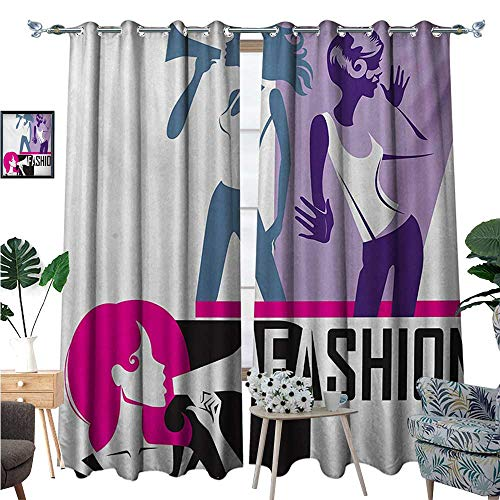 - Teen Girls Waterproof Window Curtain Composition of Girls Yelling into Megaphone Modern Stylish Fashion Themed Art Blackout Draperies for Bedroom W120 x L96 Purple Black