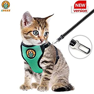 AWOOF Kitten Harness and Leash Escape Proof, Adjustable Cat Kitten Puppy Walking Jacket with Metal Leash Ring, Soft…