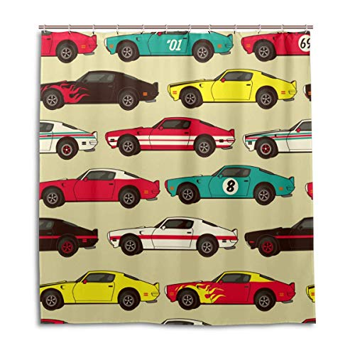Breezming Classic Racing Car Vintage Shower Curtain 72 x 72 Inch Waterproof Polyester Decoration Bathroom Curtain with Hooks