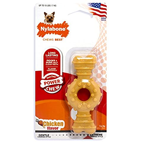 Nylabone Dura Chew Petit Chicken Flavored Textured Ring Bone Dog Chew Toy - Dura Chew Plus Bone
