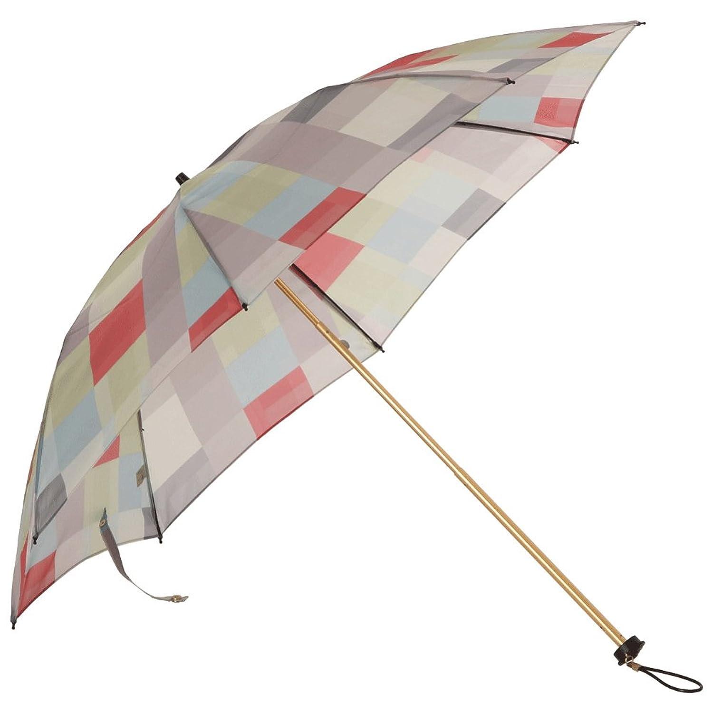 日本製 eight-Tokyo(エイト東京) レディース 晴雨兼用 ジャイアントピクセル柄 47cm 折りたたみ傘 B07B9TK3VQグレー/レッド
