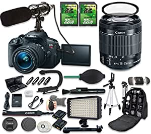 Canon EOS Rebel T5i DSLR Camera Bundle with Canon EF-S 18-55mm f/3.5-5.6 IS STM Lens + 2pc 32 GB SD Cards + Microphone + LED Light