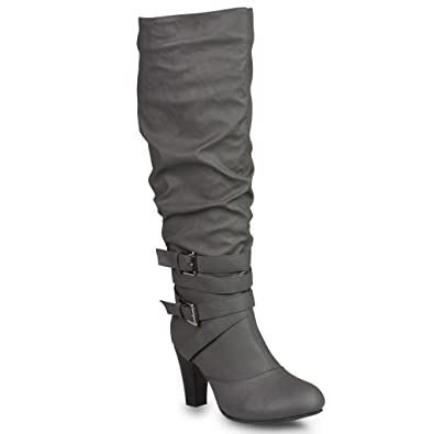 Women's HAILEY Faux Leather Wide Calf Knee-High Western Heeled Riding Boot with Multi Buckle Straps
