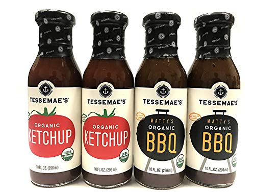 Tessemae's All Natural Condiment 4 Pack - Organic Ketchup + Matty's BBQ Sauce (Whole 30 Approved) ()
