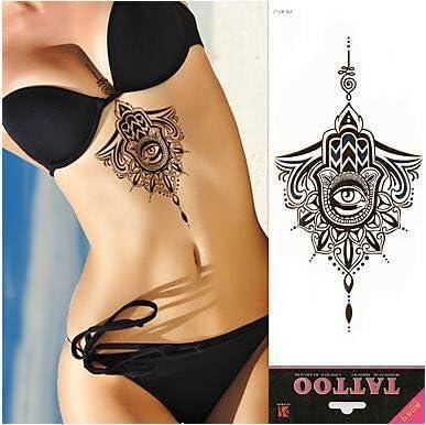 Impermeable Bajo el pecho Temporal Tatuaje de esternón metálico ...