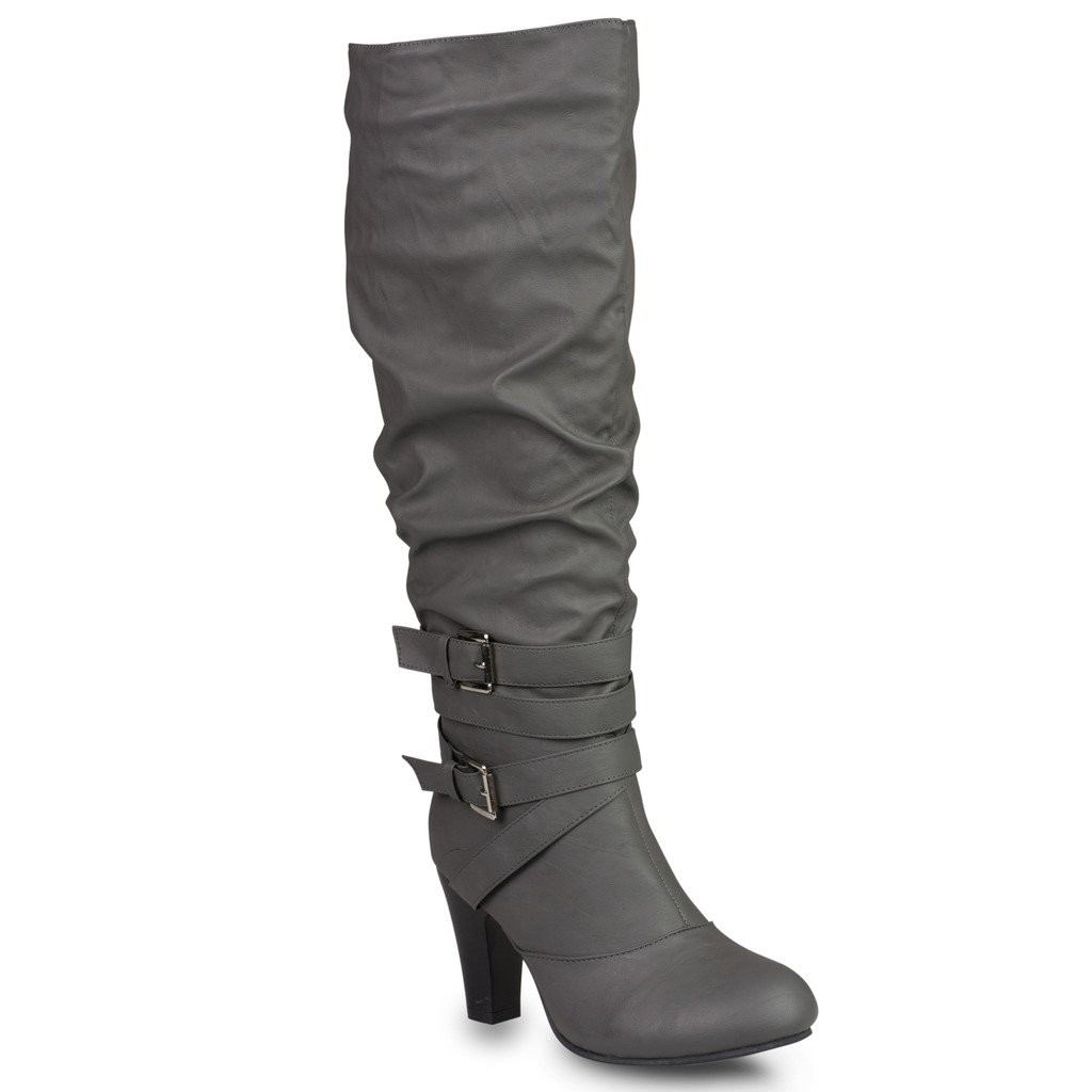 Twisted Women's HAILEY Faux Leather Wide Calf Knee-High Western Heeled Riding Boot with Multi Buckle Straps - GREY, Size 7