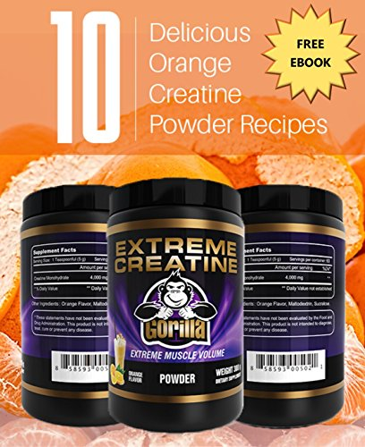 Vital Life USA Extreme Creatine Monohydrate Powder With Maltodextrin and Sucralose, 300 Grams, Orange Flavor, Pre and Post Workout Bodybuilding Supplement for Muscle Growth and Recovery
