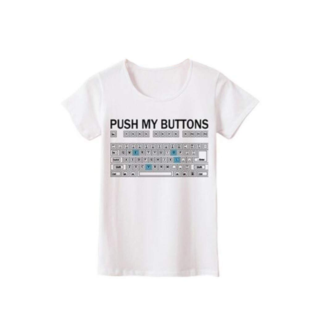Women's Plus Size Girls Funny Short Sleeve Loose Casual O-Neck Letter Keyboard Print T-Shirt Tops Blouse tee White
