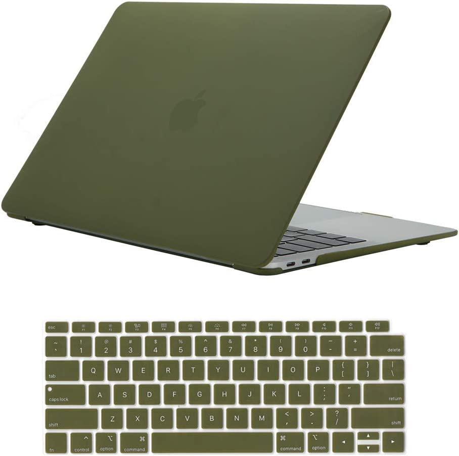 Se7enline New Mac Book Air 13 Inch Case 2021/2020/2019/2018 Hard Shell Case Cover compatible with MacBook Air 13-Inch with Retina Touch ID Model A1932/M1 A2337/A2179 with Keyboard Cover, Avocado Green