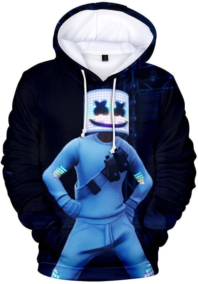 FLYCHEN Jungen Hoodie mit 3D Marshmello Druck Happy Musik Kapuzenpullover