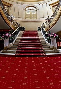 Más 5 x 7ft vinilo Digital boda interior alfombra roja escaleras telón de fondo fondo de estudio de fotografía: Amazon.es: Electrónica