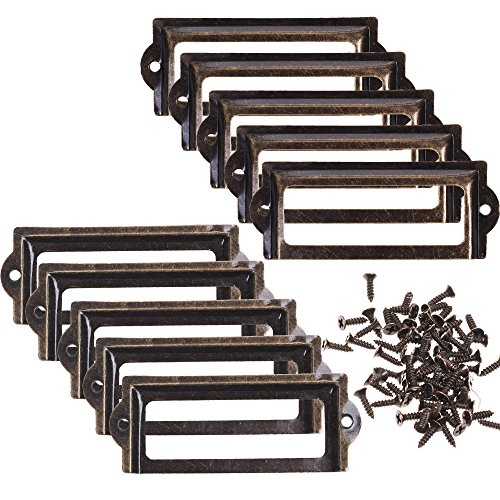 BCP 10pcs 83 x 33mm Bronze Color Metal Office File Cabinet Shelves Drawer Name Card Label Holder Frames with Screws