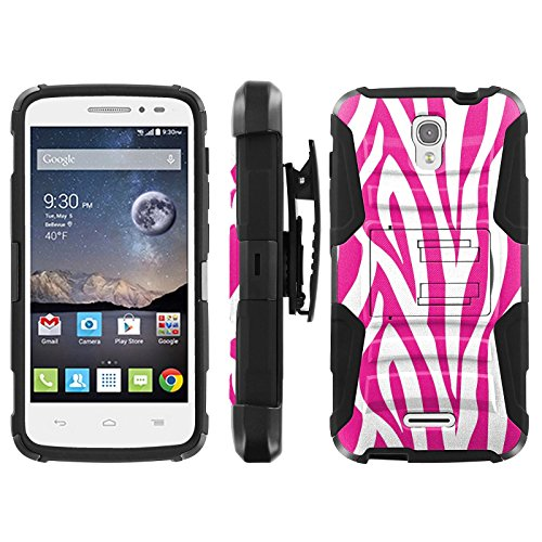 Pink and White Zebra - Blitz Hybrid Armor Case for [Alcatel One Touch Pop Astro 5042N 5042T] with Kickstand and Holster- (Alcatel One Touch Pop Zebra Case)