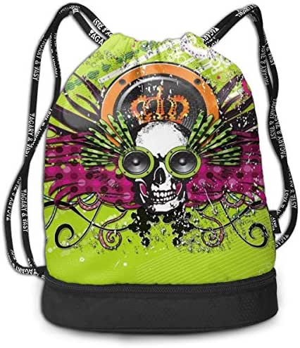 Address Verb Drawstring Backpack with Pocket Multifunctional Sturdy Music Skull Sackpack Sports Gym Shoulder String Bags