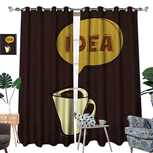 homehot Coffee Room Darkening Wide Curtains Cup of Idea Concept Brew of Creativity and Imagination Sketch Art Customized Curtains Dark Brown Mustard Cream