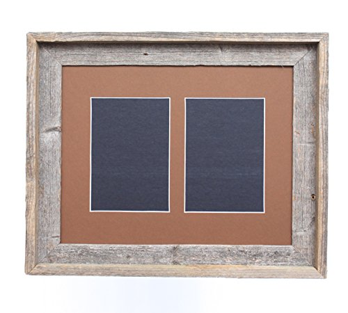 BarnwoodUSA 5 by 7 Inch Signature Picture Frame for 2 Photos - 100% Reclaimed Wood, Aged Oak Mat (Top Oak Table Reclaimed)
