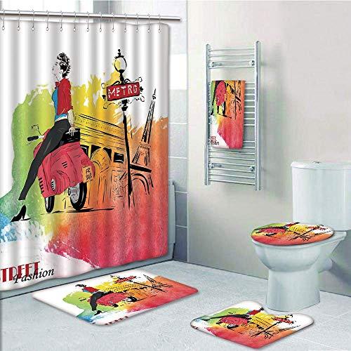Bathroom 5 Piece Set Shower Curtain 3D Print,Fashion House Decor,Woman on Pink Motorcycle Trend Vogue in Paris Eiffel Tower Art Print,Red Orange,Bath Mat,Bathroom Carpet Rug,Non-Slip,Bath Towls ()