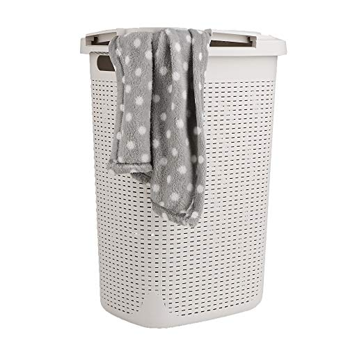 Mind Reader 60HAMP-IVO 60 Liter Basket, Laundry Hamper with Cutout Handles, Washing Bin, Dirty Clothes Storage, Bathroom, Bedroom, Closet, - 60l Basket