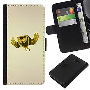 KLONGSHOP // Tirón de la caja Cartera de cuero con ranuras para tarjetas - Minimalista Búho - Sony Xperia M2 //