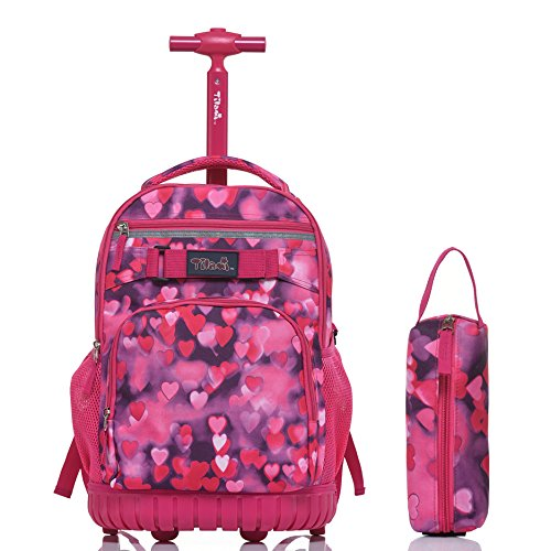Backpack Friends Rolling (Tilami Rolling Backpack 18 Inch for School Travel with Pencil Case,Red Heart)