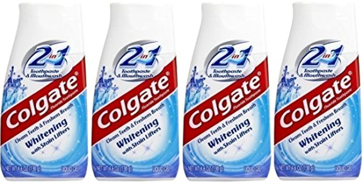賞賛鉄技術Colgate 2-IN-1ホワイトニングで染色リフター歯磨き粉4.60オンス(4パック)