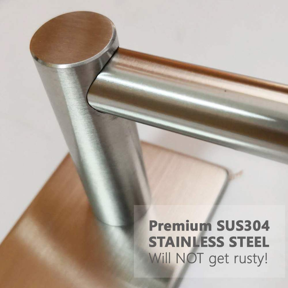 Bathroom Towel Bar 16inch, Easy Install with Self-Adhesive, NO Drilling on Walls, Premium SUS304 Stainless Steel - Brushed by Songtec (Image #5)