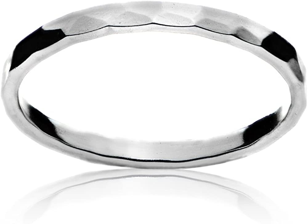 Sterling Silver Polished Hammered Midi Stackable Thin Wedding Band Ring