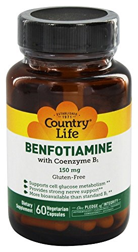 Country Life – Vitamin B1 with Benfotiamine, 150 mg – 60 Vegetarian Capsules