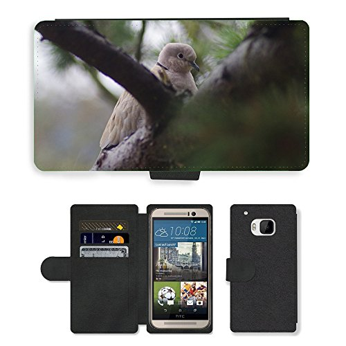 Just Phone Cases Flip PU Leather Wallet Case with Credit Card Slots // M00129213 Bird Dove Collared // HTC One M9
