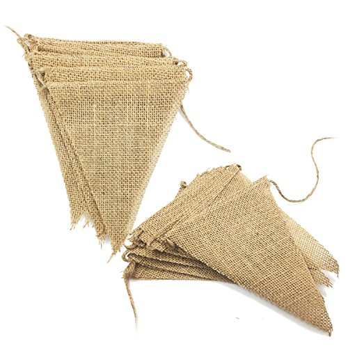 Ovee Lando 9 Foot Burlap Banner Vintage Bunting Banner with 13pcs Flags DIY Wedding Birthday Party Decoration 2 ()