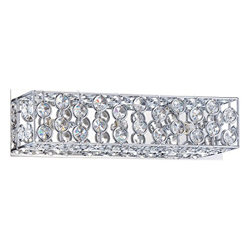 Kendal Lighting VF6600-3L-CH Palazzo 3-Light Vanity Fixture, Chrome Finish and Optic Crystal Jewels