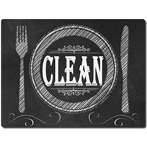 KIWE HOME Reversible Double Sided Dishwasher Magnet. Clean Dirty Flexible Flip 3x4 inch Big Size Flipside Black and White Chalkboard Dish Design Perfect Kitchen Addition Premium Flip Sign Indicator