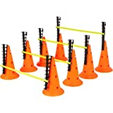 Trademark Innovations Adjustable Hurdle Cone Set, 8 Cones and 4 Poles