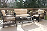 Oliver Smith - Large 4 Pc High Back Rattan Wiker Sofa Set Outdoor Patio Furniture - Aluminum Frame with Ottoman - 9518 Beige