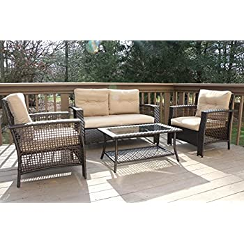 Oliver Smith   Large 4 Pc High Back Rattan Wiker Sofa Set Outdoor Patio  Furniture. Amazon com   Giantex 4pc Patio Rattan Furniture Set Tea Table