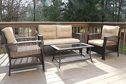 High Back Patio Furniture: Large 4 Pc High Back Rattan Wiker Sofa Set