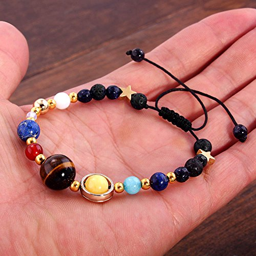 YEYULIN Handmade Galaxy Solar System Bracelet Universe Eight Planets Star Natural Stone Beads Bracelets Bangles by YEYULIN (Image #4)