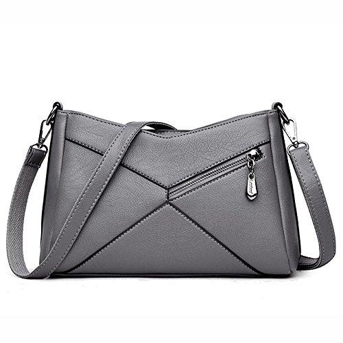 DHFUD Bolso De Hombro De La Mujer Messenger Bag Leisure Simple Splicing Gray