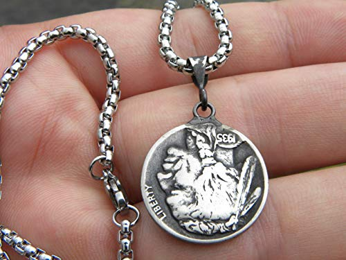 1930 or 1934 or 1935 or 1936 or 1937 or 1938 authentic  Buffalo Indian Nickel coin vintage  pendant sterling silver jump rings necklace