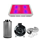 PrimeGarden 8 Inch Inline Fan Carbon Air Filter Ducting Combo + 600 watt Full Spectrum LED Grow Light Complete Kit for Hydroponics Indoor Grow Tent Ventilation System (LED600W+8'' Filter Combo)