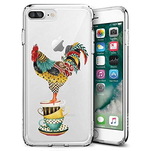 Watercolor Rooster iPhone 7 Plus 8 Plus Clear Case,Ultra-Thin Transparent Soft Protection Cover,Personal Customization Hybrid Drop Flexible Shockproof Case
